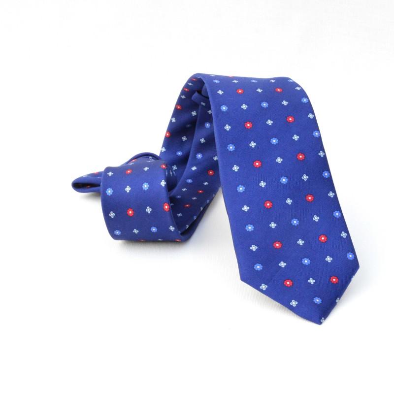 Corbata Azul Flores Azules y Rojas