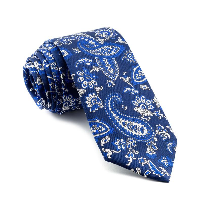 Corbata Marino Cachemir con Tonos Azules y Blancos