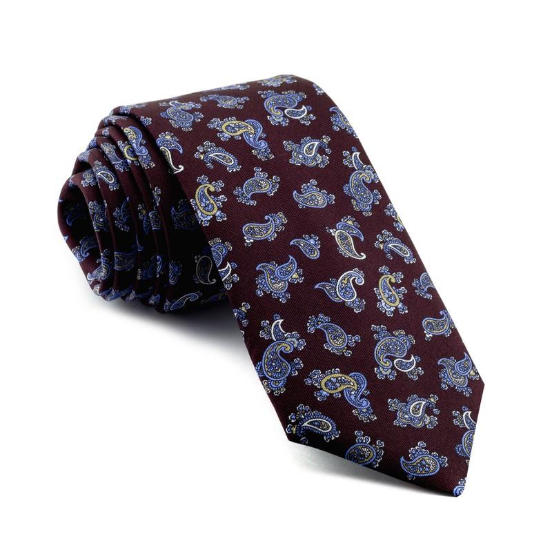Corbata Burdeos Cachemir dibujos Azules