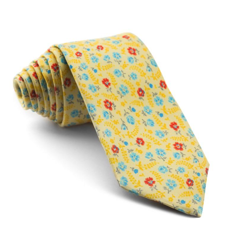 Corbata Amarilla Flores
