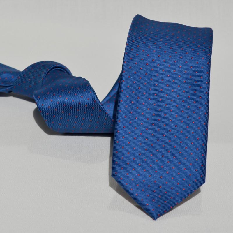 Corbata Azul Lunares Pequeños Rojos