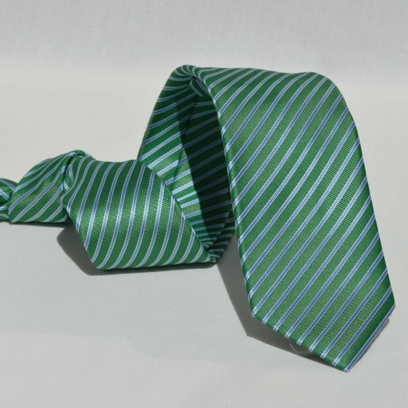 Corbata Verde Rayas Celestes