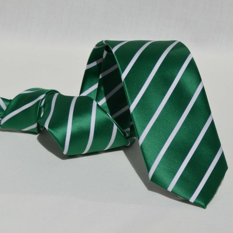 Corbata Verde Rayas Blancas