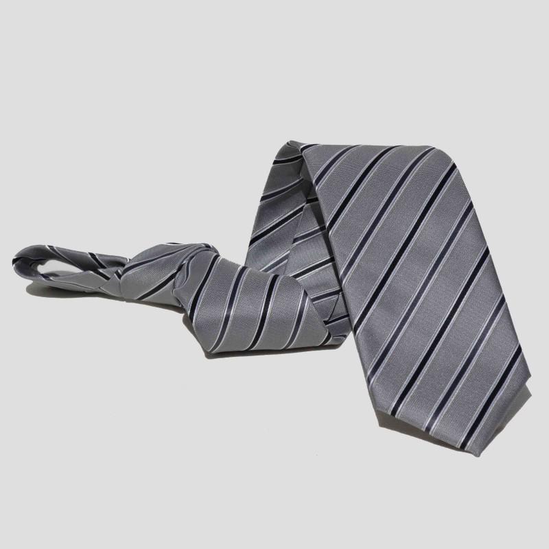 Corbata Gris Rayas Negras