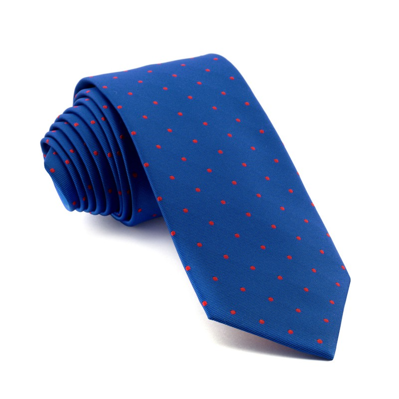 Corbata Azul Lunares Rojos