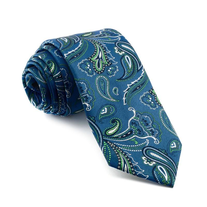 Corbata Azul Cachemir estampada en Verde y Marino