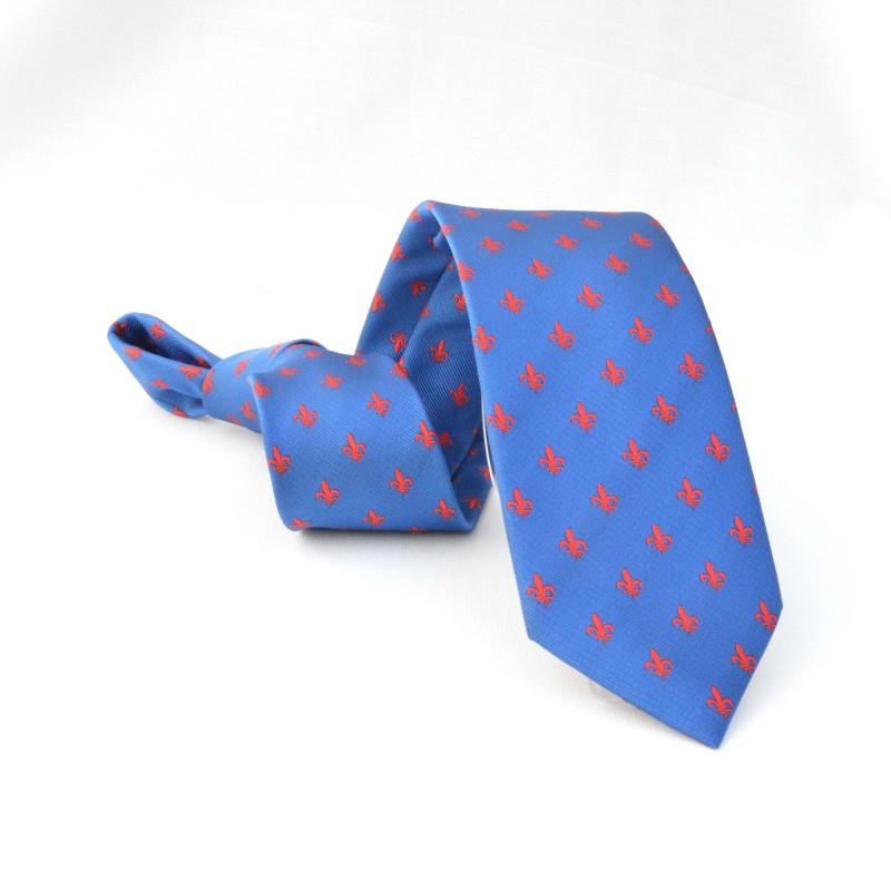 Corbata Azul Flor de Lis