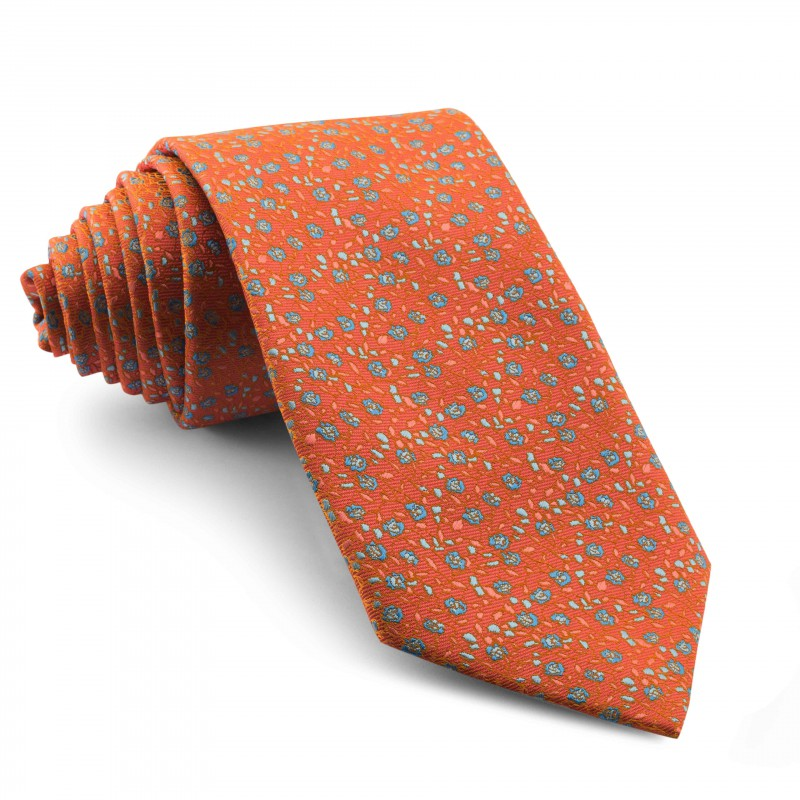 Corbata Naranja Flores