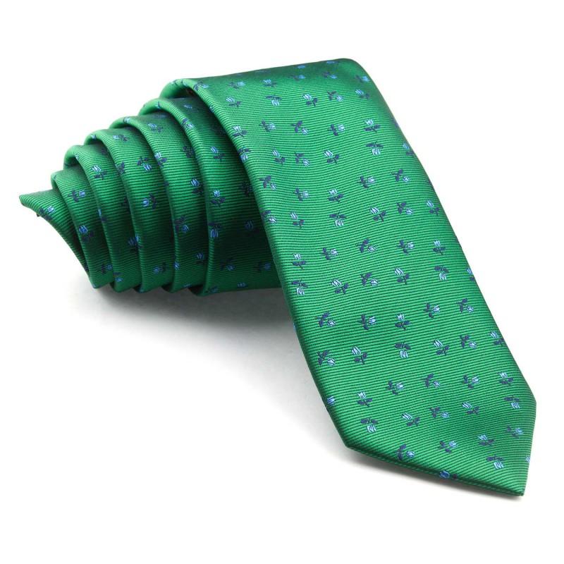 Corbata Verde con Flores Azules