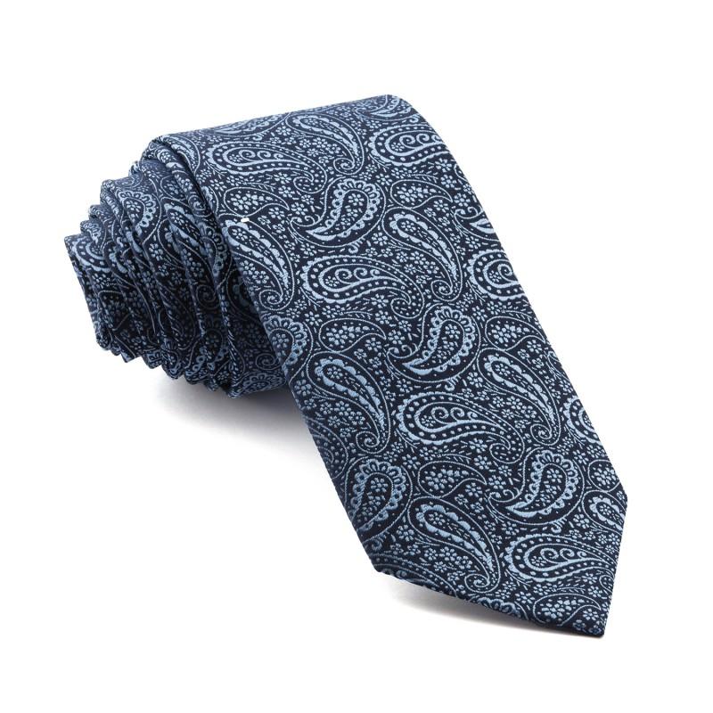 Corbata Marino Cachemir con tonos Celestes