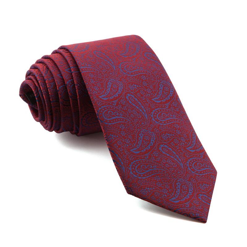 Corbata Roja Cachemir Azul