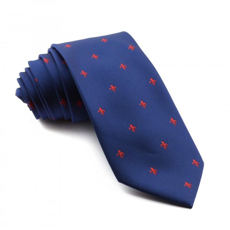 Corbata Marino Flor de Lis Roja