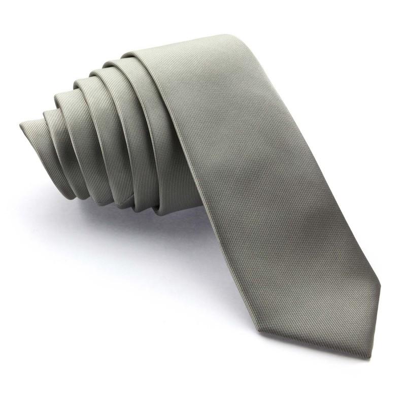 Corbata Estrecha Gris Perla