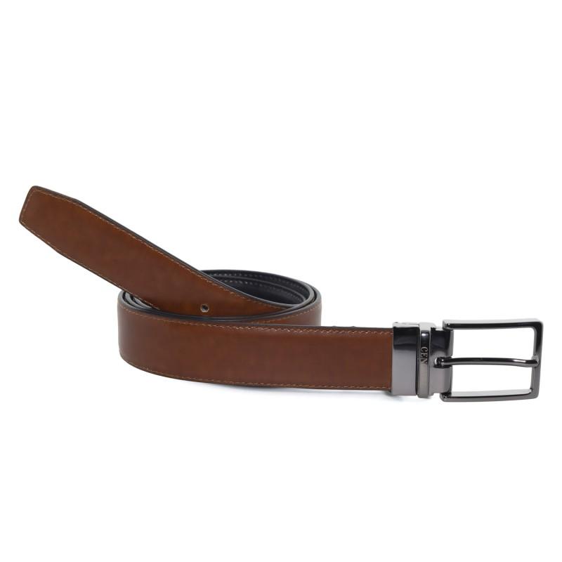 Cinturón Piel Reversible Marrón Castaño para hombre