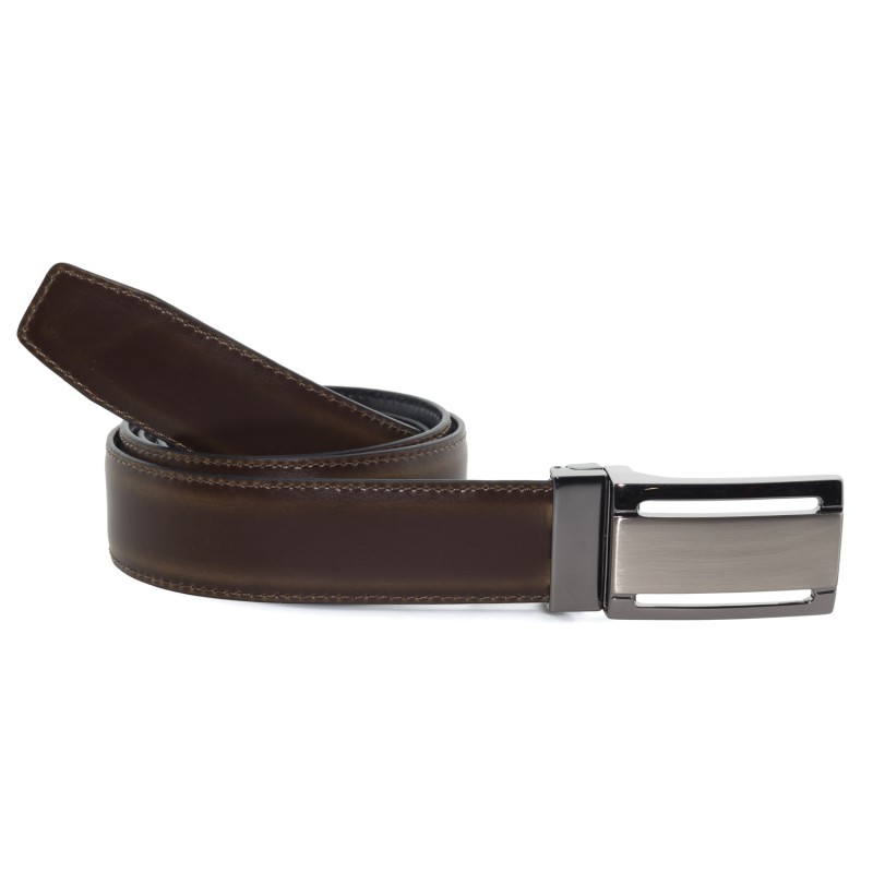 Cinturón Piel Reversible en Marrón Oscuro para hombre