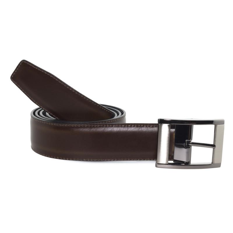 Cinturón Piel Reversible Marrón Oscuro Ancho para hombre