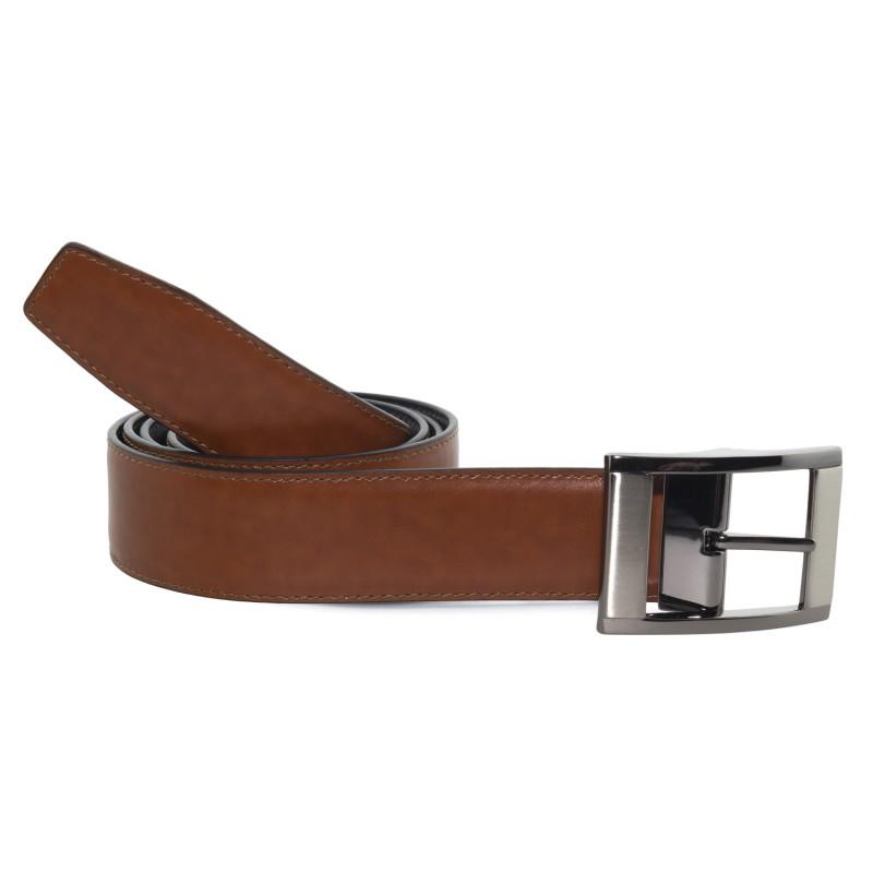 Cinturón Piel Reversible Marrón Castaño Ancho