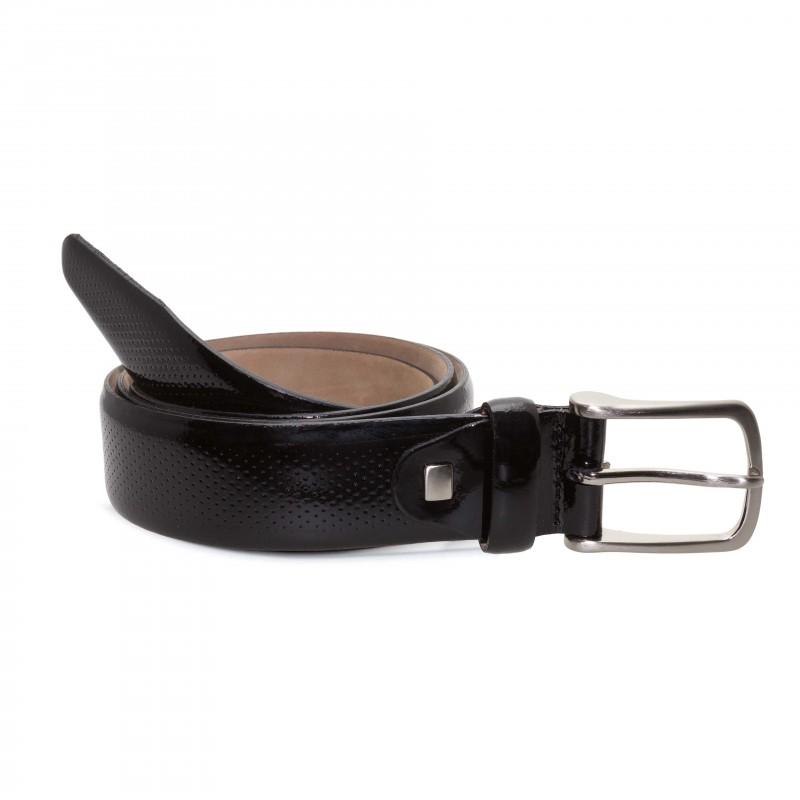 Cinturón Charol Negro Picado para hombre
