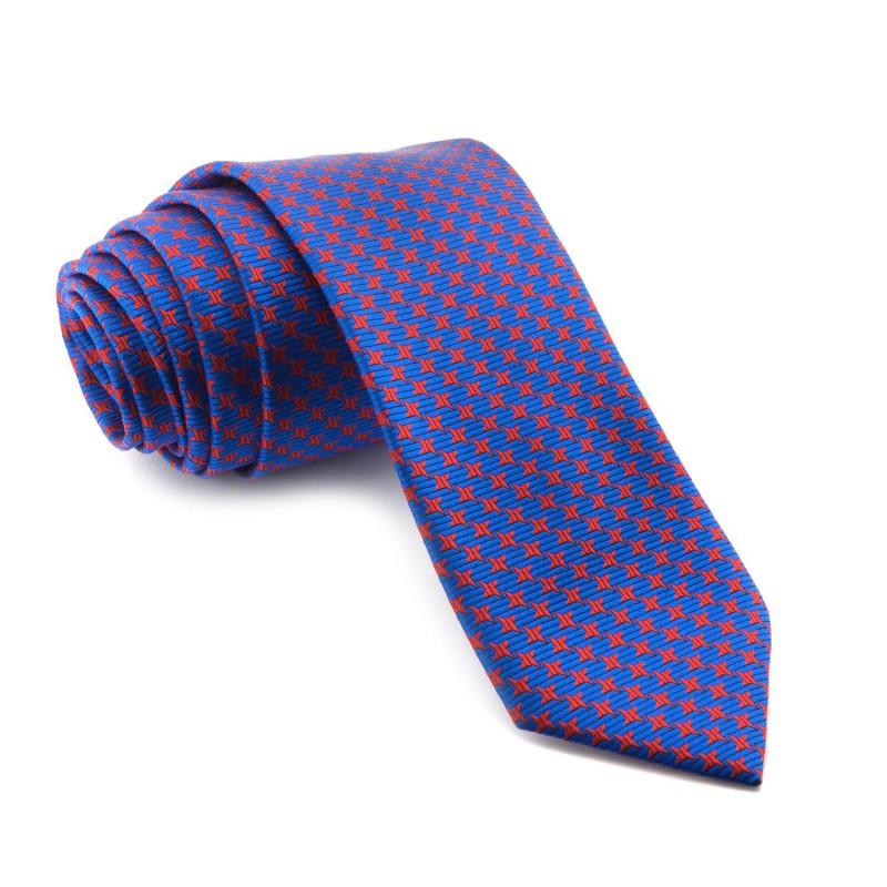 Corbata Azul Dibujos en Rojo