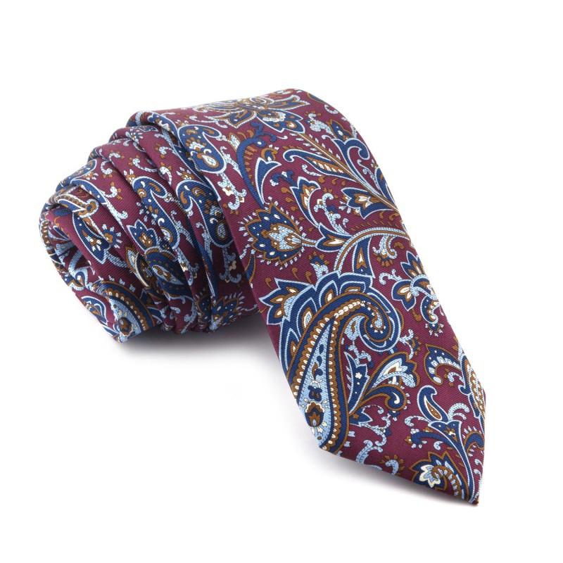 Corbata Burdeos Cachemir con tonos Azules