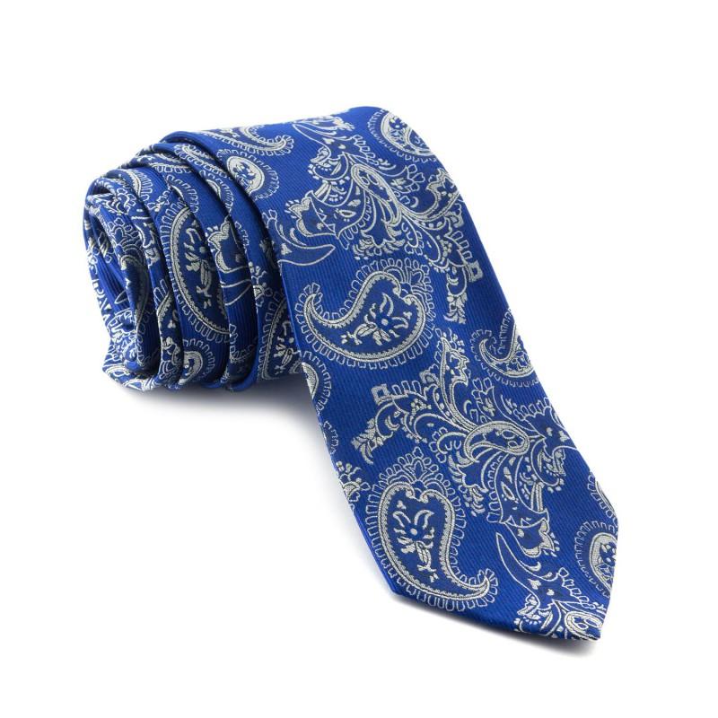 Corbata Azul Cachemir con tonos Blancos