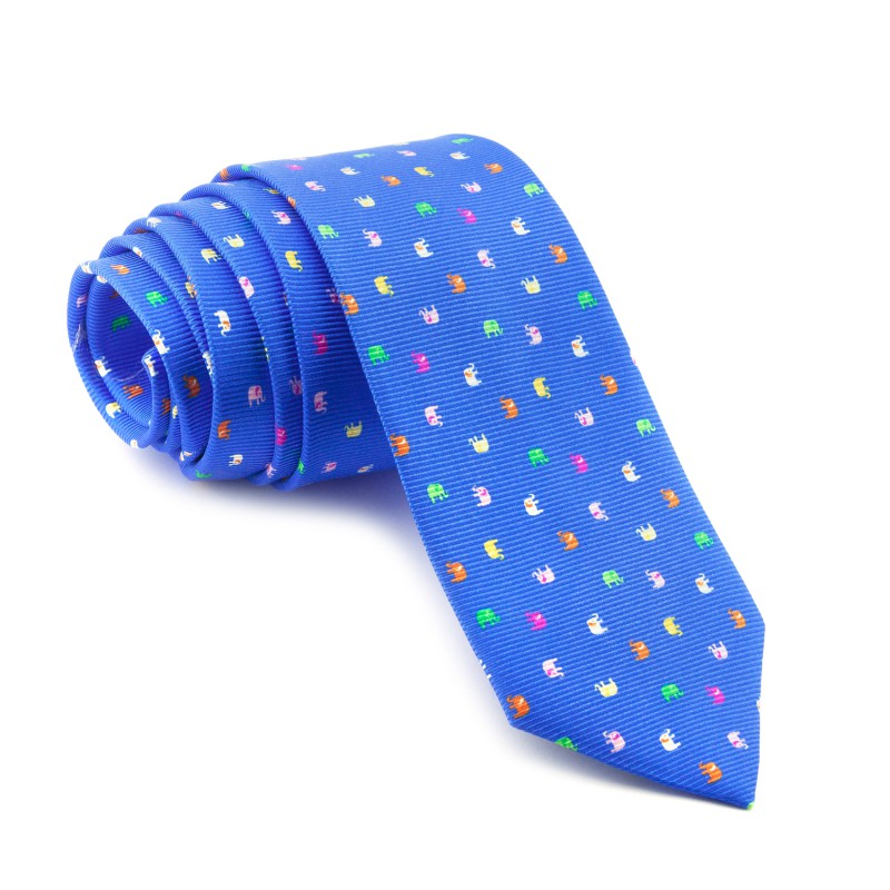 Corbata Azul Elefantes