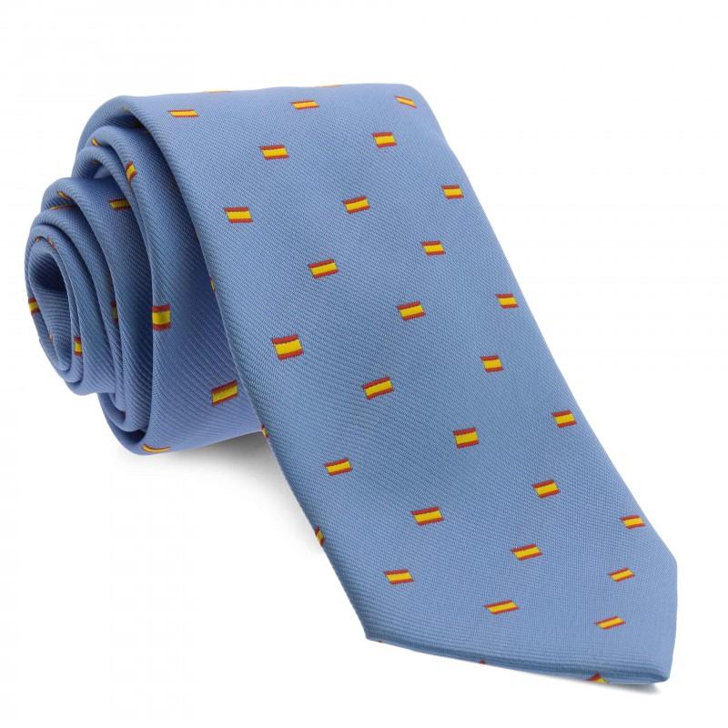 Corbata Azul Celeste con dibujos de la bandera de España