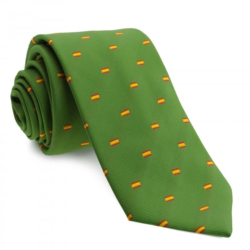 Corbata Verde con dibujos de la bandera de España