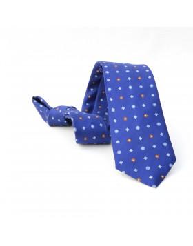 Corbata Azul Flores Azules y Marrones