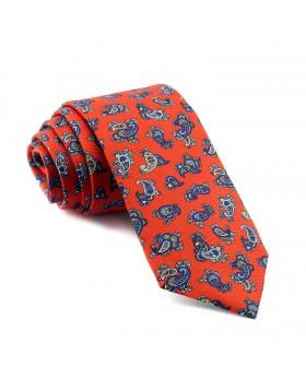 Corbata Roja Cachemir estampada en Celeste y Amarillo