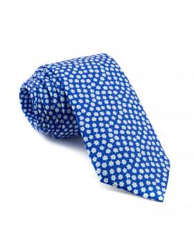 Corbata Azul Flores Blancas
