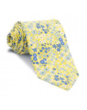 Corbata Amarilla Flores Azules