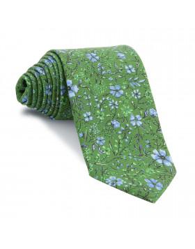 Corbata Verde Flores Celestes