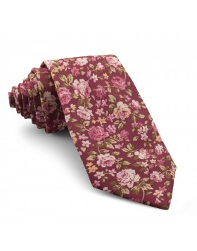 Corbata Burdeos Flores