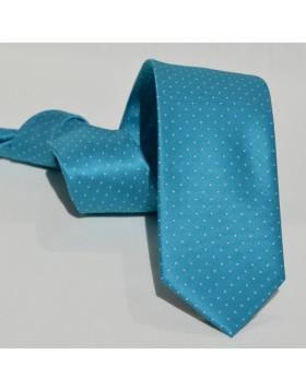 Corbata Turquesa con Pequeños Lunares Blancos