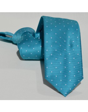 Corbata Turquesa Pequeños Lunares Blancos