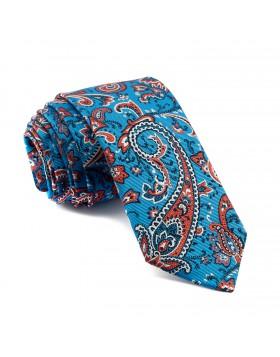 Corbata Azul Cachemir con estampados en Coral