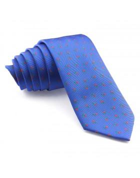 Corbata Azul Flores Rojas