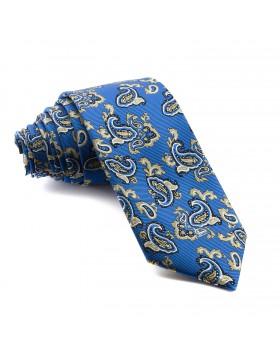 Corbata Azul Cachemir con estampados Azules y Amarillos