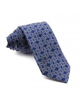Corbata Azul Cachemir estampada en Azul y Burdeos