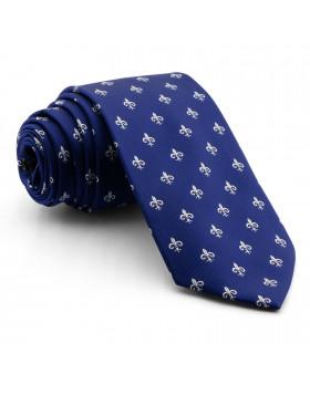 Corbata Azul Flor de Lis Blanco