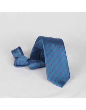 Corbata Azul con Flores Rojas
