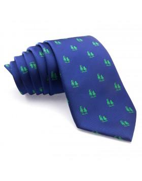 Corbata Azul con dibujos del Quijote en Verde