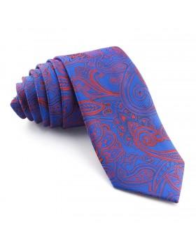 Corbata Azul Cachemir con tonos Rojos