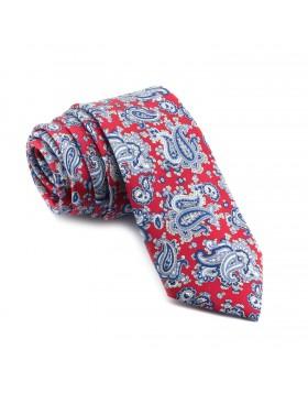 Corbata Roja Cachemir en tonos Azules