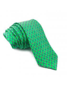Corbata Verde con Flores Azules y Rosas