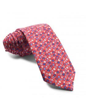 Corbata Roja Flores Azules
