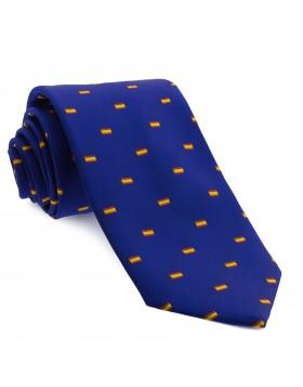 Corbata Azul con dibujos de la bandera de España