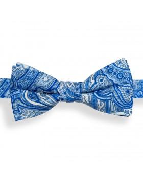 Pajarita Azul Cachemir con Dibujos en Azul