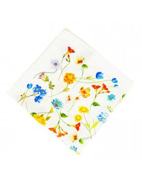 Pañuelo Blanco Flores Azul y Amarillo